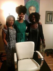 Tonya (WOC Zine member) attended the open on of the new natural hair/braid salon downtown Portland. Conscious Coils. Left to Right: Amber Starks's mentee, Amber Stark (owner/founder of Conscious Coils, and Tonya).