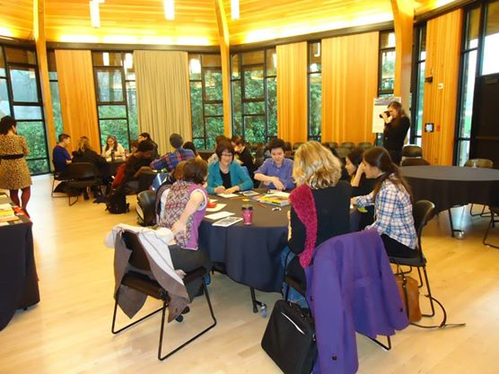 Attendees at the WOC Zine Workshop at Lewis & Clark 2014.