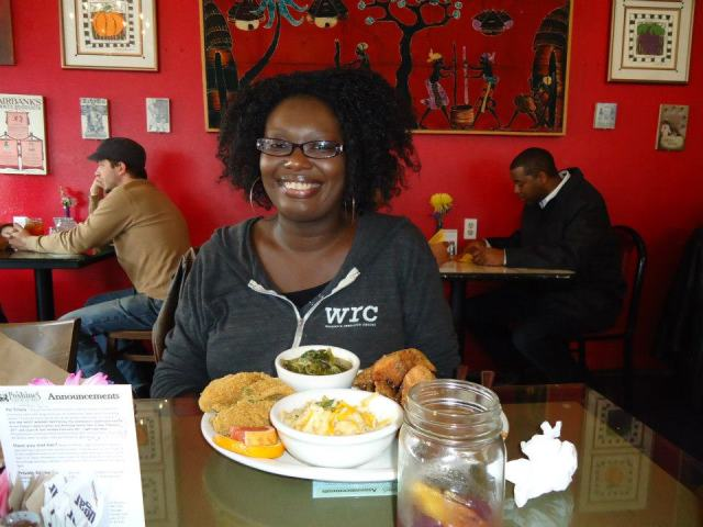 Tonya at a WOC Zinesters lunch.