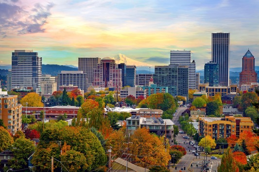 Portland Downtown Cityscape in the Fall